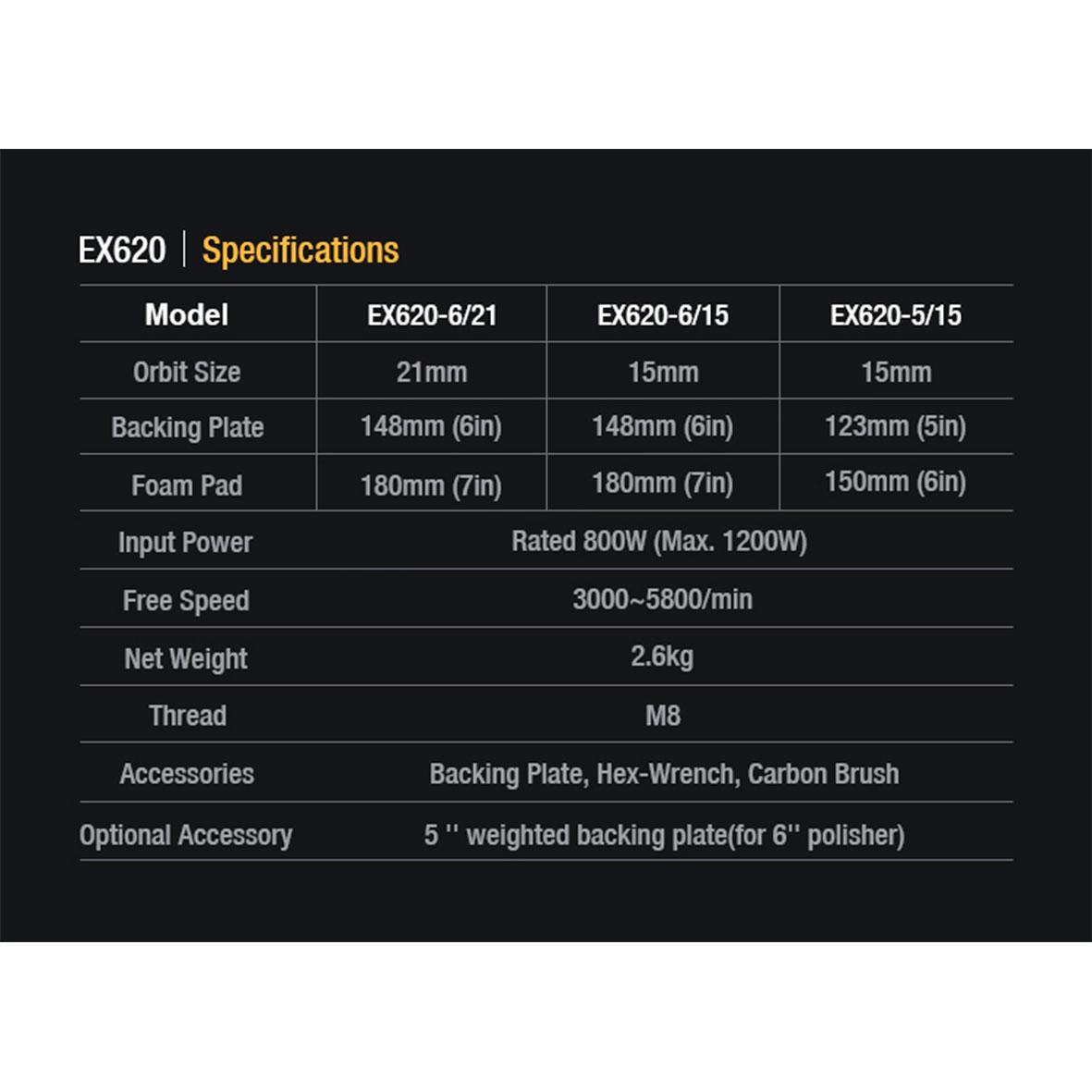 Ficha técnica de la polichadora EX620